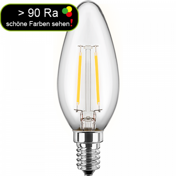 LED Filament Glühfaden Kerze 4,5 Watt warmweiß E14 > 90 Ra