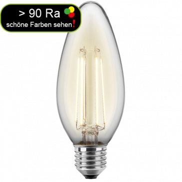 LED Filament Glühfaden Kerze 4,5 Watt warmweiß E27 > 90 Ra