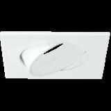 Einbaurahmen für LED Strahler mit verstellbarem Winkel, quadratisch, glänzend weiß, Lochausschnitt 68 mm