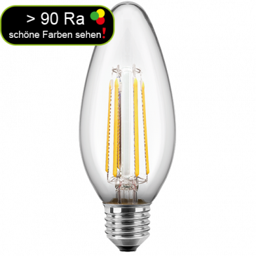 LED Filament Lampe Kerzenform 4,5 Watt warmweiß E27 > 90 Ra